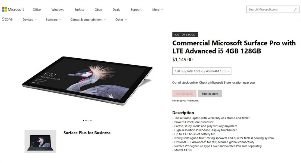 ommercial Microsoft Surface Pro with LTE Advanced