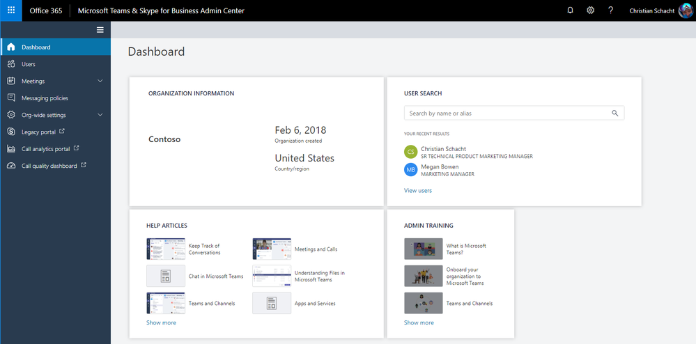 Microsoft Teams, Skype for Business Admin Center