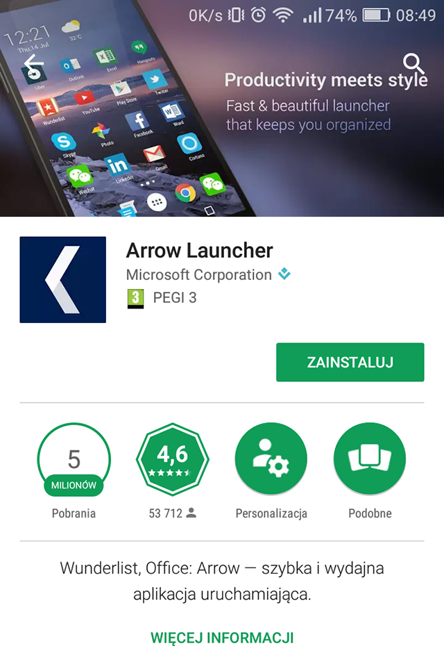 Arrow launher wspiera Andorid for Work