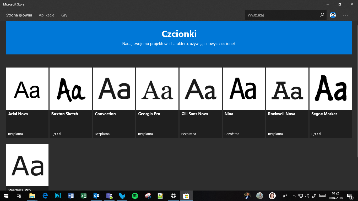 Windows 10 April 2018 Update - Czcionki w Ustawieniach