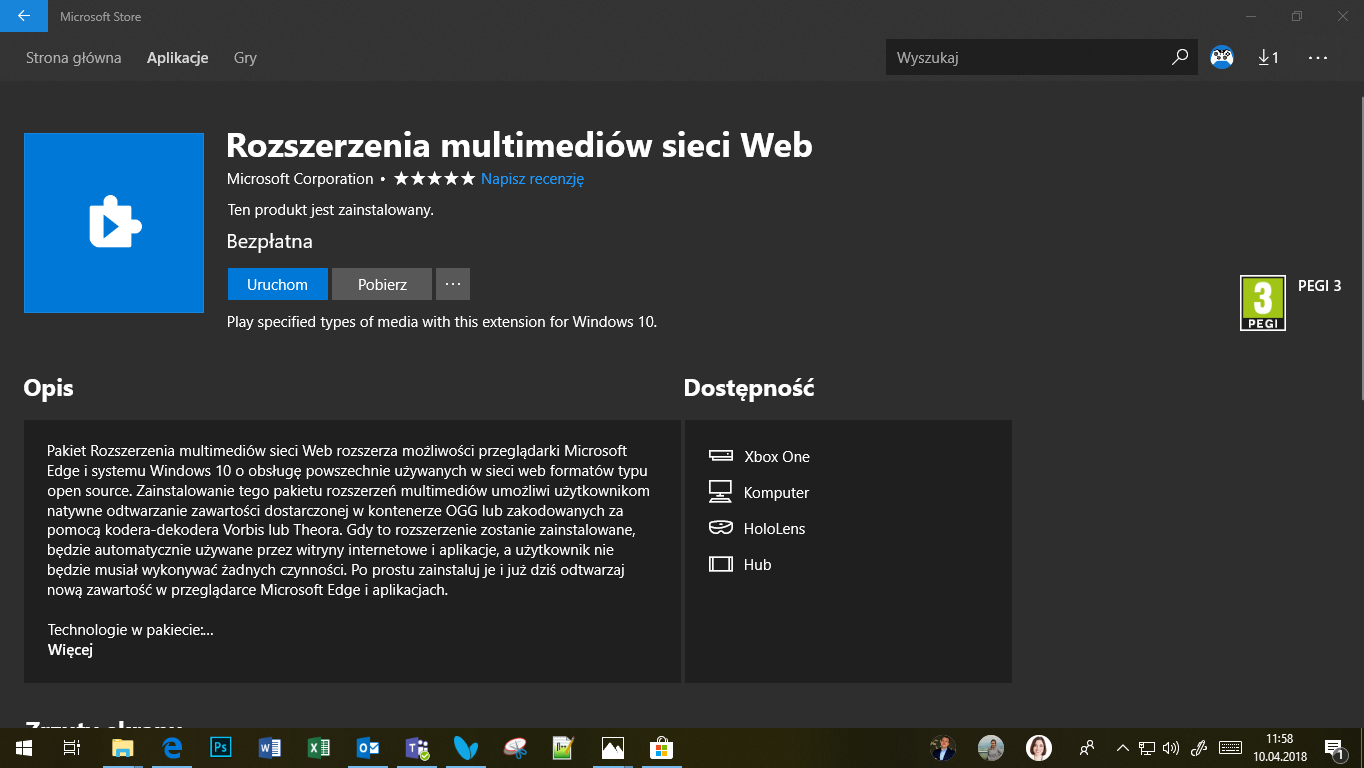 Windows 10 April 2018 Update - rozszerzenia multimediów