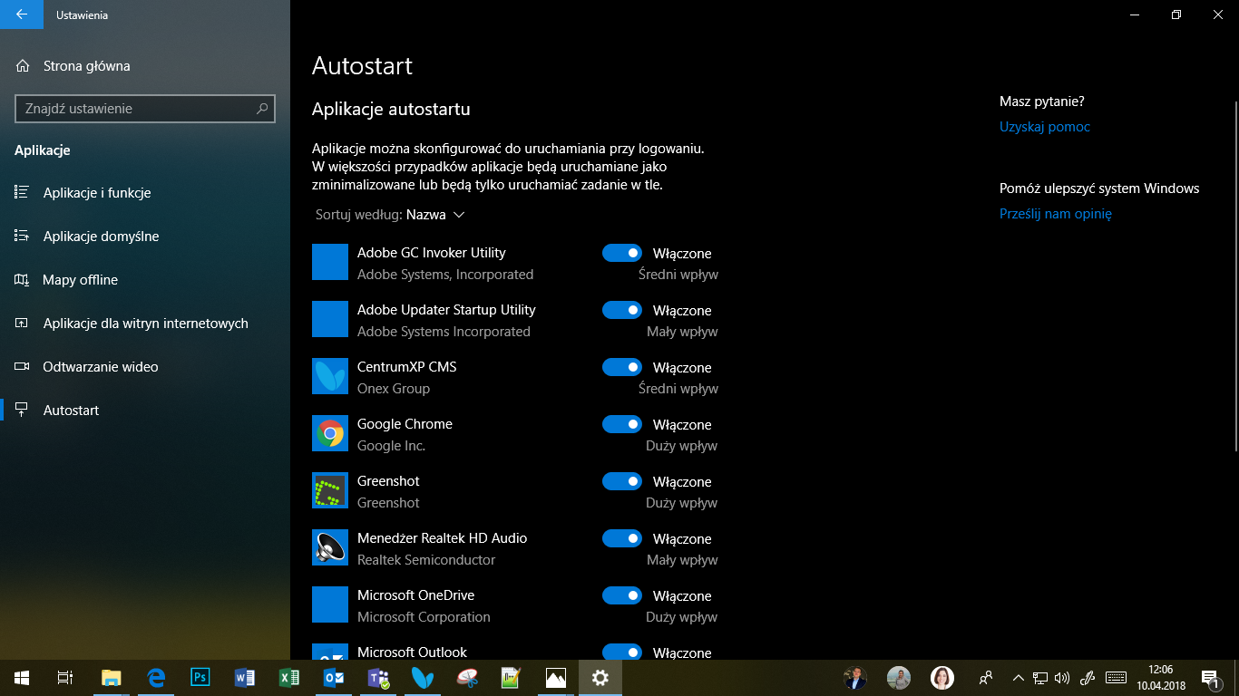 Windows 10 April 2018 Update - autostart aplikacji