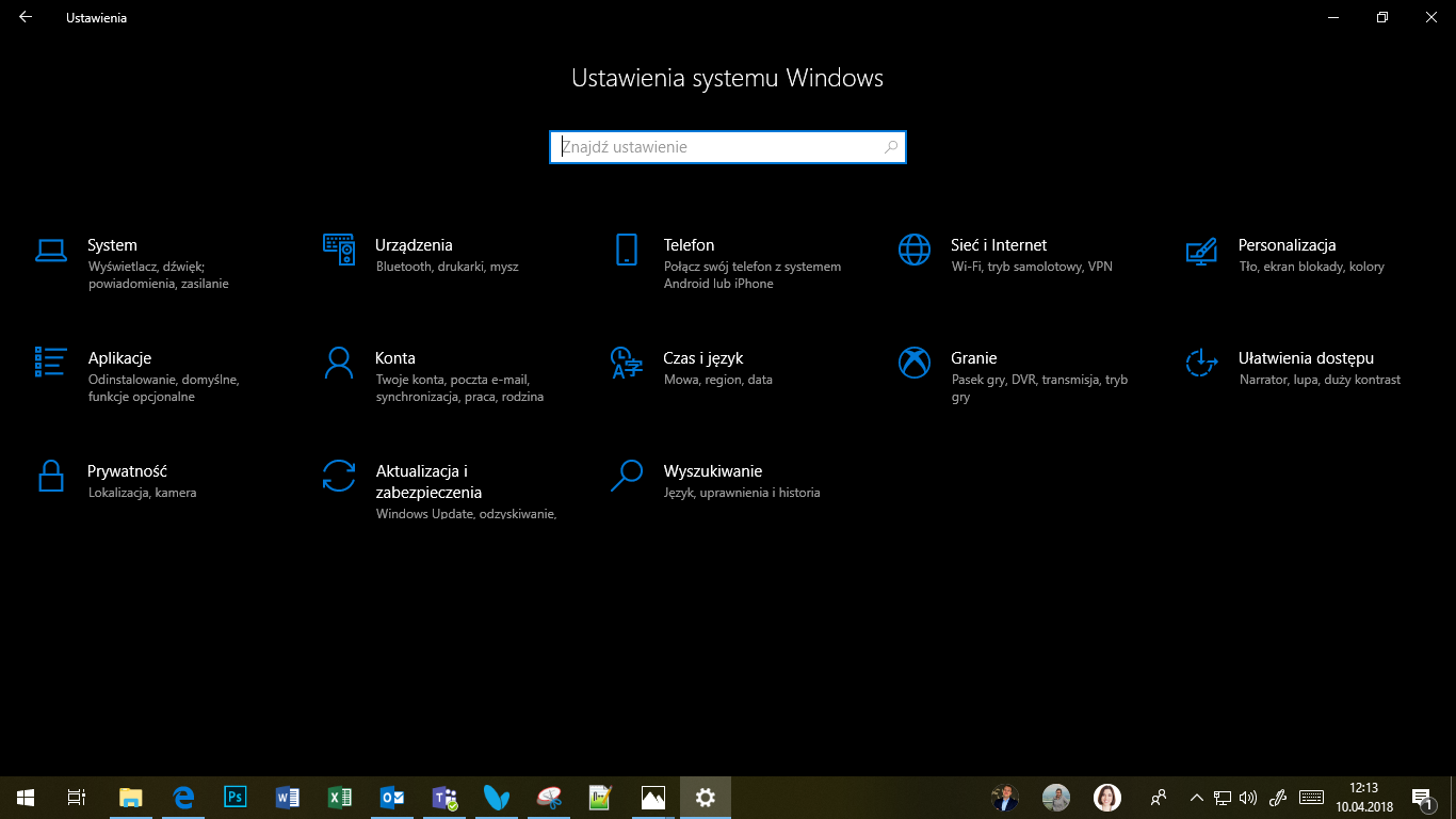 Windows 10 April 2018 Update - Ustawienia