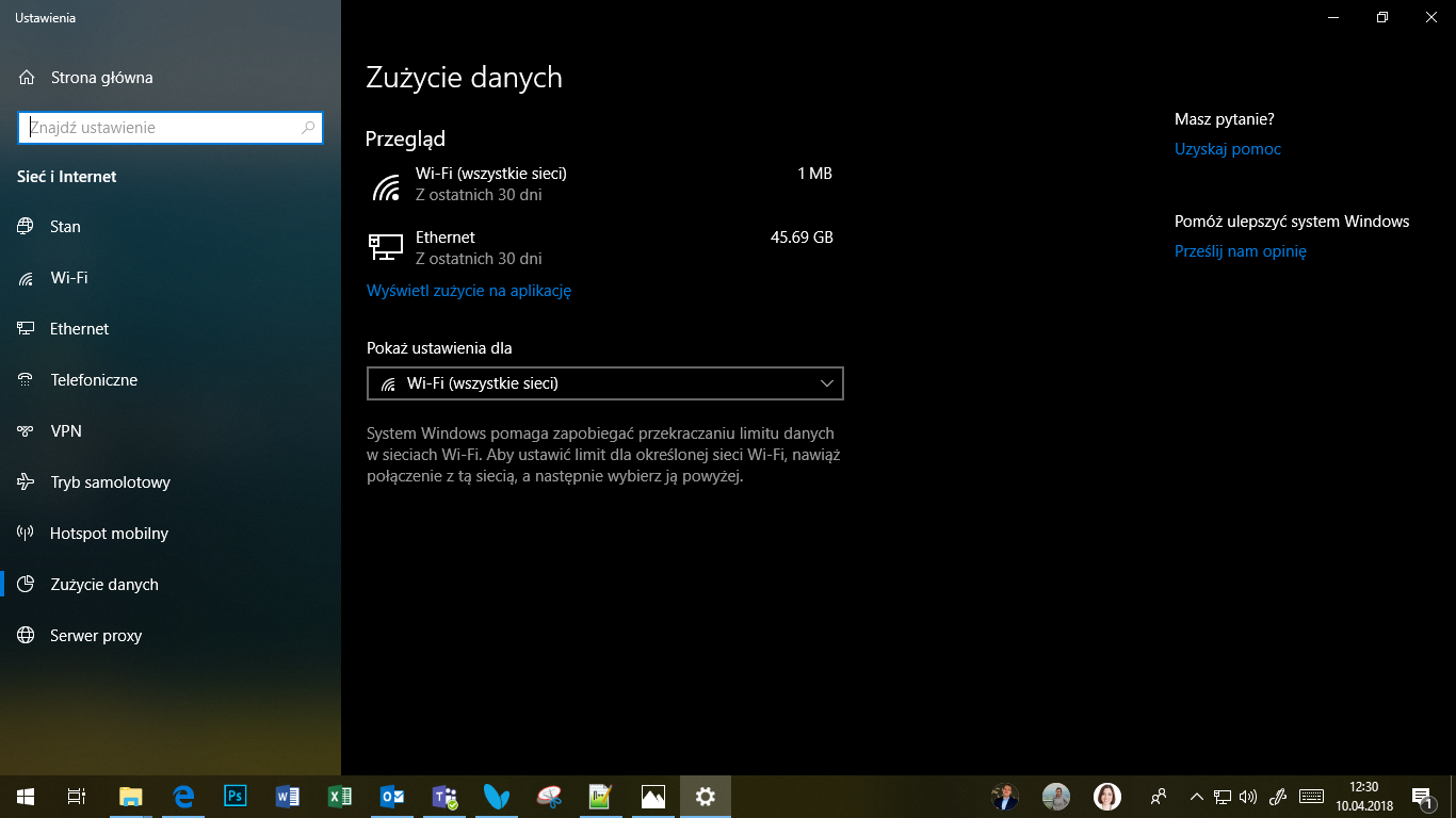 Windows 10 April 2018 Update - zużycie danych